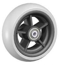 Rad mit Vollgummireifen, 5 Speichen, Nabenlänge 58 mm