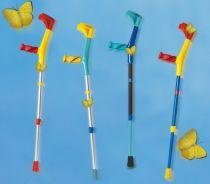 Kinder Leichtmetall-Unterarmgehstütze, Anatomic-Softgriff, Druckknopfverstellung, bunt/blau (vollfarbig)