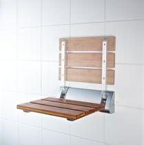 Duschklappsitz mit Bambussitzfläche