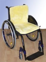 Rollstuhlauflage Echtfell, Farbe natur, Maße 45 x 85 cm