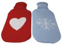 Wärmflasche mit Bezug, Bezug rot mit Herz
